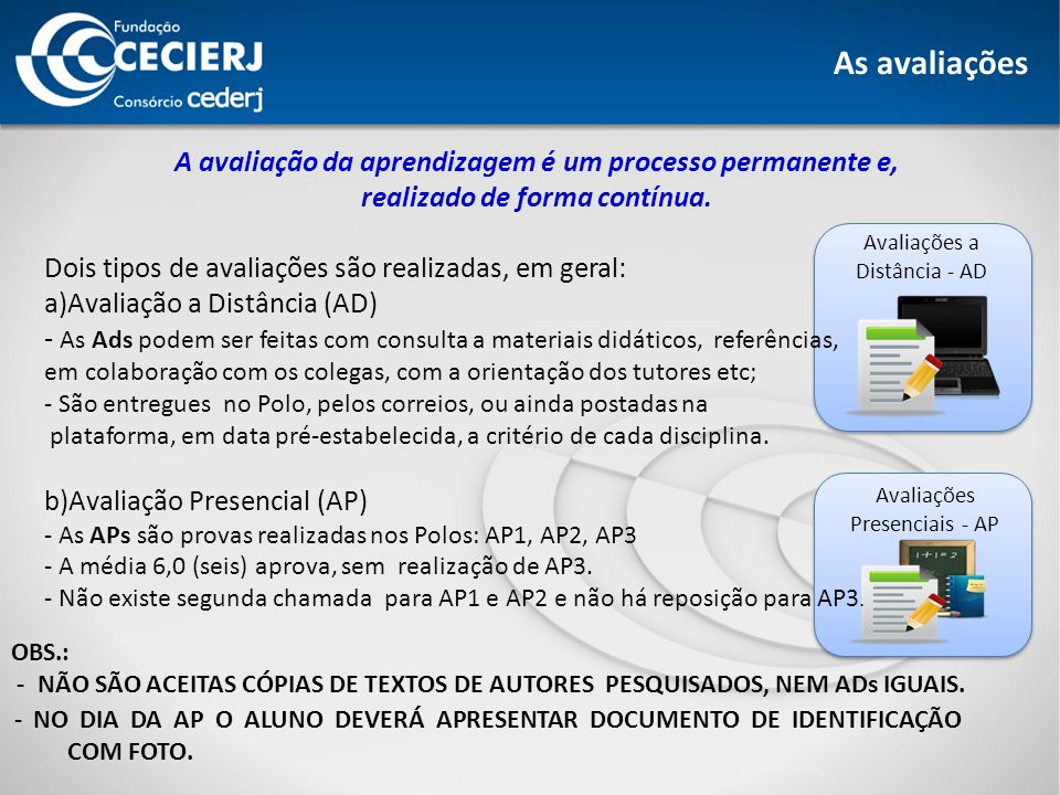 Avaliações Presenciais - AP As avaliações Avaliações a Distância - AD OBS.: - NÃO SÃO ACEITAS CÓPIAS DE TEXTOS DE AUTORES PESQUISADOS, NEM ADs IGUAIS.