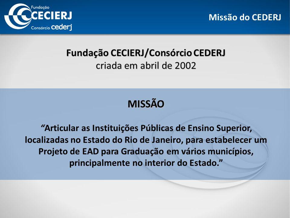 Missão do CEDERJ Fundação CECIERJ/Consórcio CEDERJ criada em abril de 2002 MISSÃO Articular as Instituições Públicas de Ensino Superior, localizadas no Estado do Rio de Janeiro, para estabelecer um Projeto de EAD para Graduação em vários municípios, principalmente no interior do Estado.