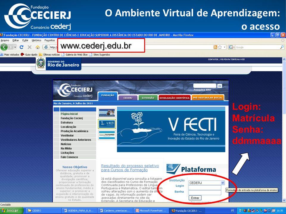 http://novaplataforma.cederj.edu.br Esqueci minha senha O Ambiente Virtual de Aprendizagem: o acesso www.cederj.edu.br Login: Matrícula Senha: ddmmaaaa