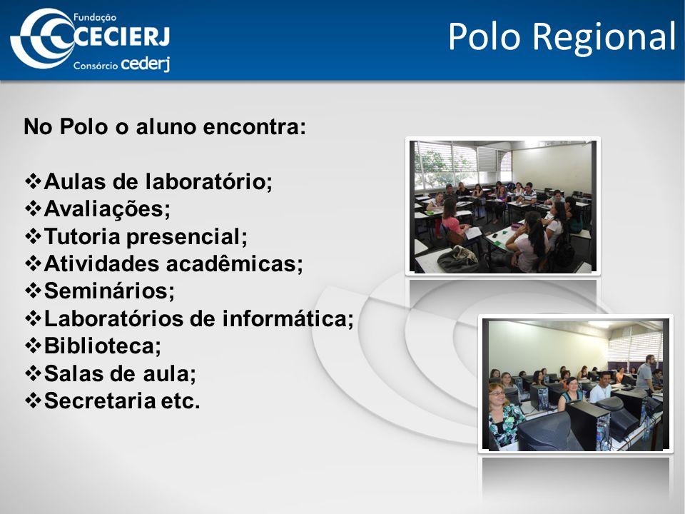 Polo Regional No Polo o aluno encontra: Aulas de laboratório; Avaliações; Tutoria presencial; Atividades acadêmicas; Seminários; Laboratórios de informática; Biblioteca; Salas de aula; Secretaria etc.