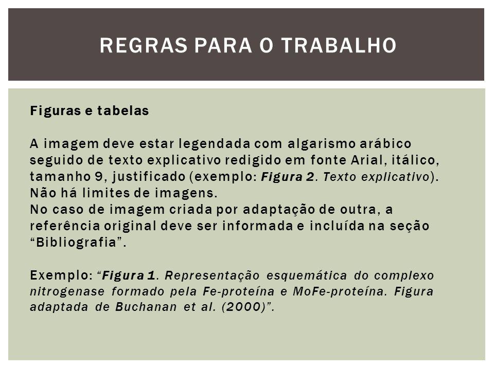 REGRAS PARA O TRABALHO Figuras e tabelas A imagem deve estar legendada com algarismo arábico seguido de texto explicativo redigido em fonte Arial, itá