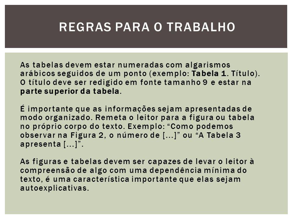 REGRAS PARA O TRABALHO As tabelas devem estar numeradas com algarismos arábicos seguidos de um ponto (exemplo: Tabela 1. Título). O título deve ser re