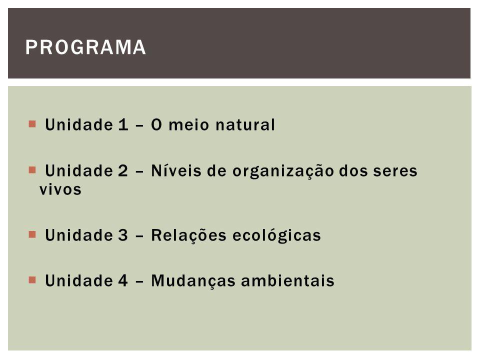 Unidade 1 – O meio natural Unidade 2 – Níveis de organização dos seres vivos Unidade 3 – Relações ecológicas Unidade 4 – Mudanças ambientais PROGRAMA