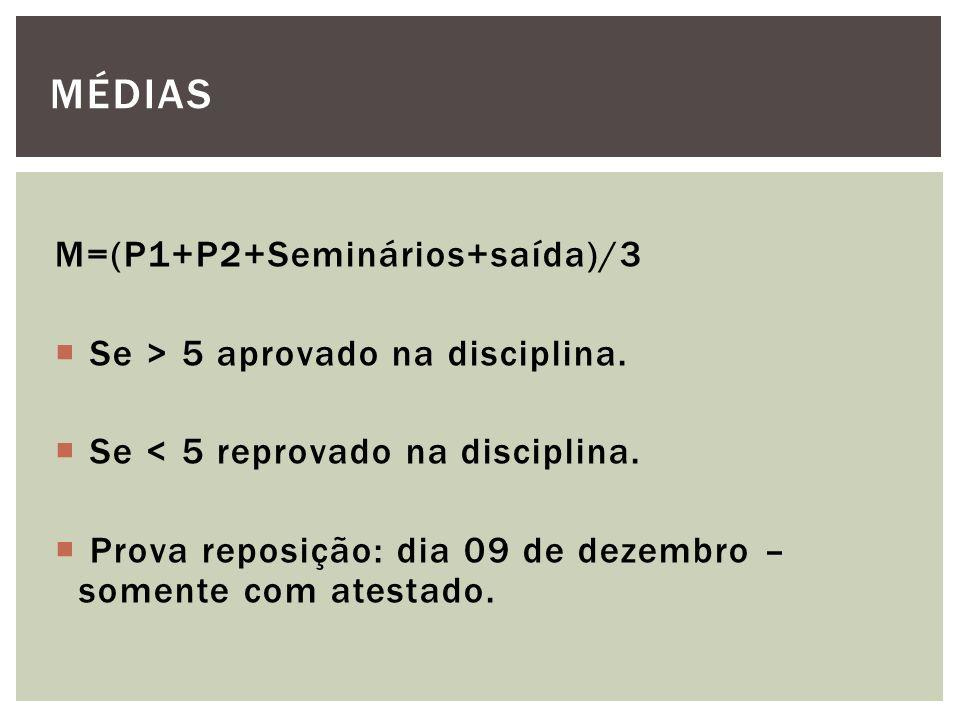 M=(P1+P2+Seminários+saída)/3 Se > 5 aprovado na disciplina. Se < 5 reprovado na disciplina. Prova reposição: dia 09 de dezembro – somente com atestado
