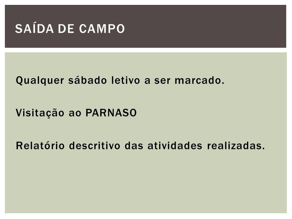 Qualquer sábado letivo a ser marcado. Visitação ao PARNASO Relatório descritivo das atividades realizadas. SAÍDA DE CAMPO