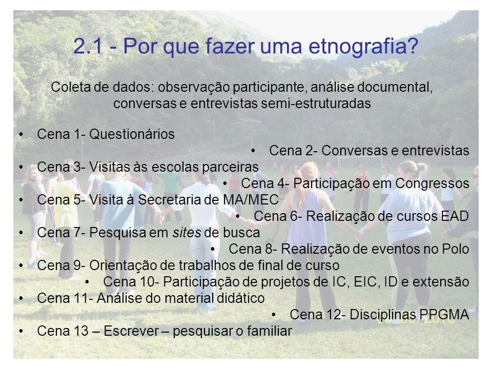 2.1 - Por que fazer uma etnografia? Cena 1- Questionários Cena 2- Conversas e entrevistas Cena 3- Visitas às escolas parceiras Cena 4- Participação em