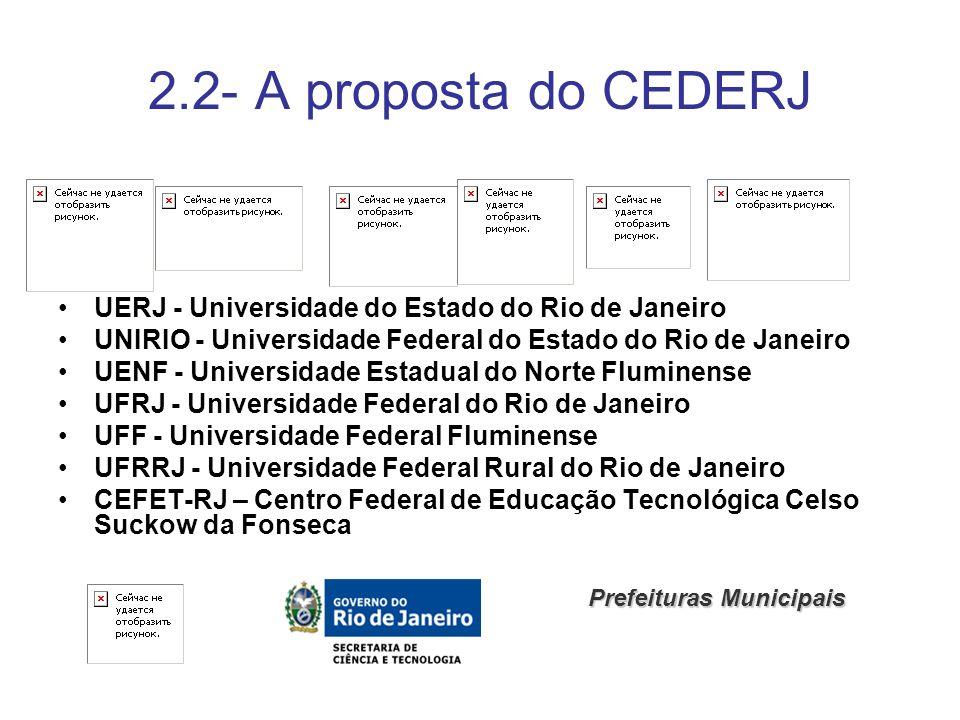 2.2- A proposta do CEDERJ UERJ - Universidade do Estado do Rio de Janeiro UNIRIO - Universidade Federal do Estado do Rio de Janeiro UENF - Universidad