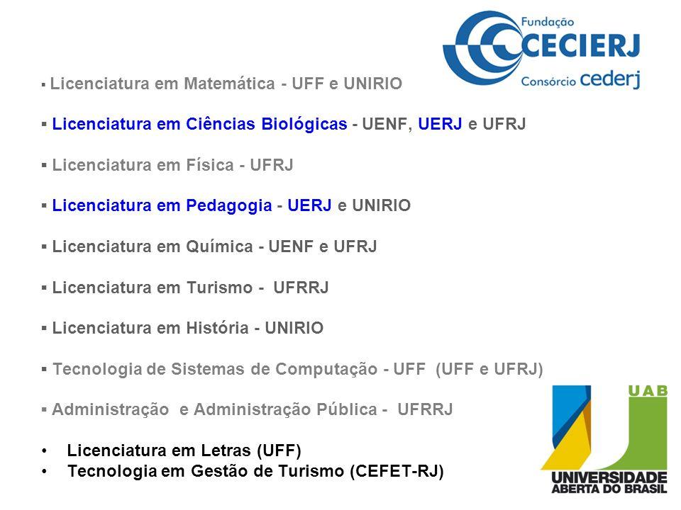 Licenciatura em Matemática - UFF e UNIRIO Licenciatura em Ciências Biológicas - UENF, UERJ e UFRJ Licenciatura em Física - UFRJ Licenciatura em Pedago