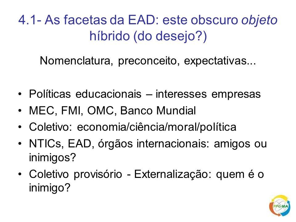 4.1- As facetas da EAD: este obscuro objeto híbrido (do desejo?) Nomenclatura, preconceito, expectativas... Políticas educacionais – interesses empres