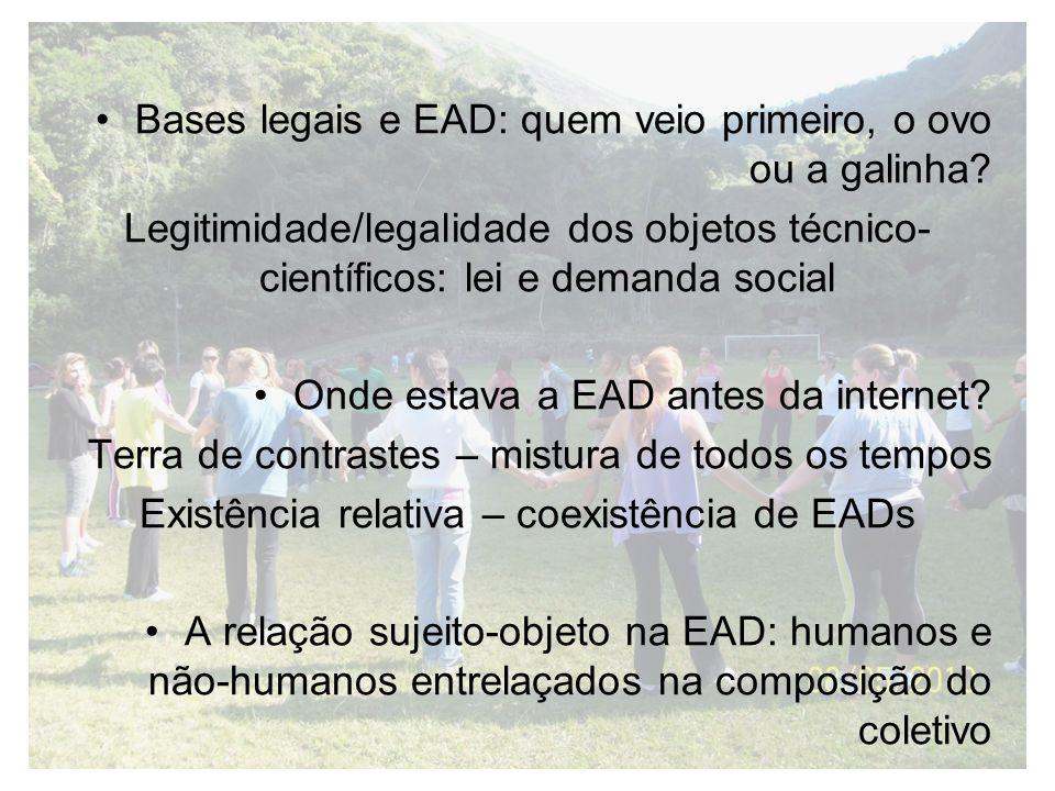 Bases legais e EAD: quem veio primeiro, o ovo ou a galinha? Legitimidade/legalidade dos objetos técnico- científicos: lei e demanda social Onde estava