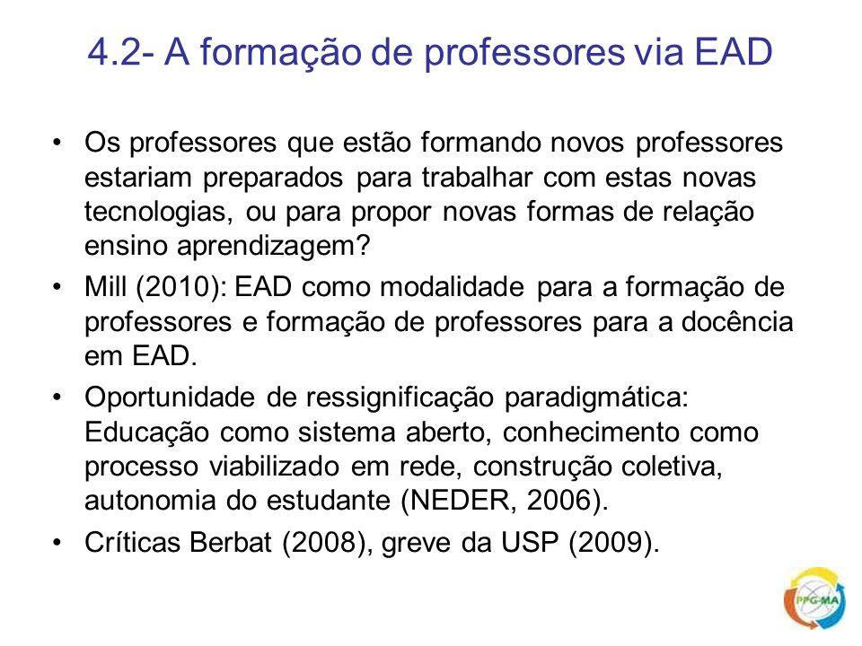 4.2- A formação de professores via EAD Os professores que estão formando novos professores estariam preparados para trabalhar com estas novas tecnolog