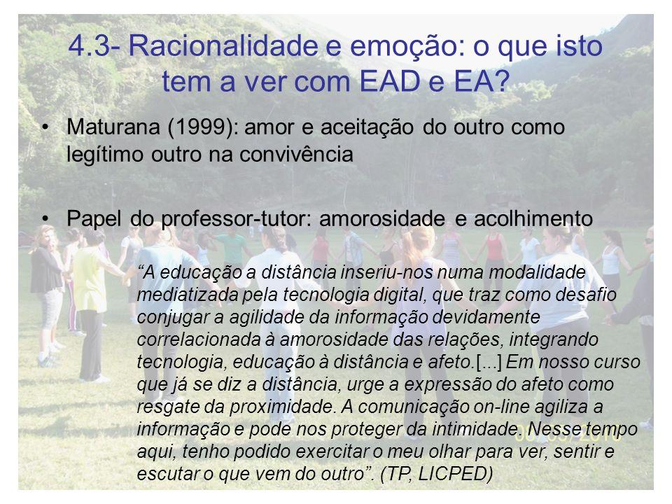 4.3- Racionalidade e emoção: o que isto tem a ver com EAD e EA? Maturana (1999): amor e aceitação do outro como legítimo outro na convivência Papel do