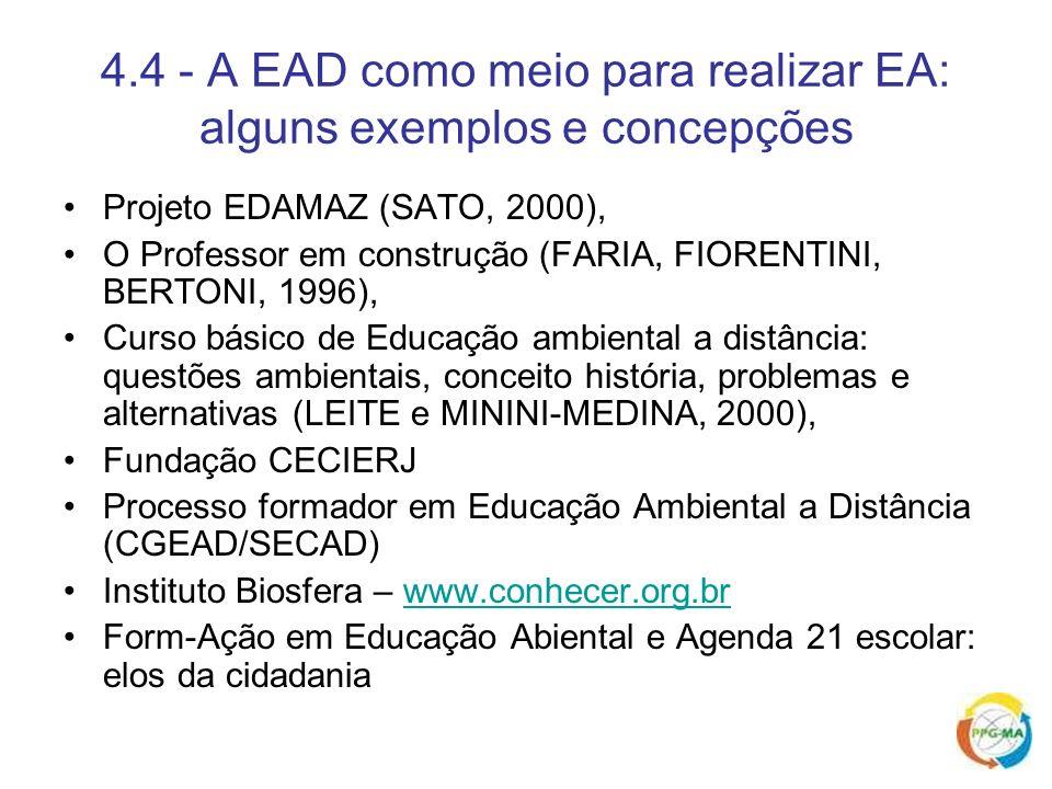 4.4 - A EAD como meio para realizar EA: alguns exemplos e concepções Projeto EDAMAZ (SATO, 2000), O Professor em construção (FARIA, FIORENTINI, BERTON