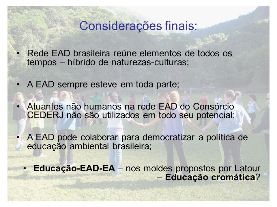Considerações finais: Rede EAD brasileira reúne elementos de todos os tempos – híbrido de naturezas-culturas; A EAD sempre esteve em toda parte; Atuan