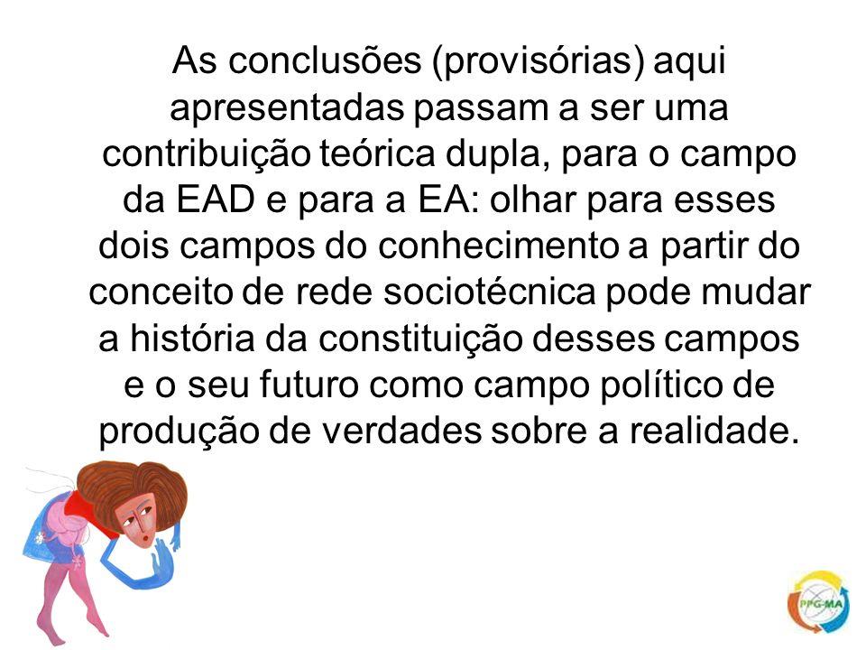 As conclusões (provisórias) aqui apresentadas passam a ser uma contribuição teórica dupla, para o campo da EAD e para a EA: olhar para esses dois camp