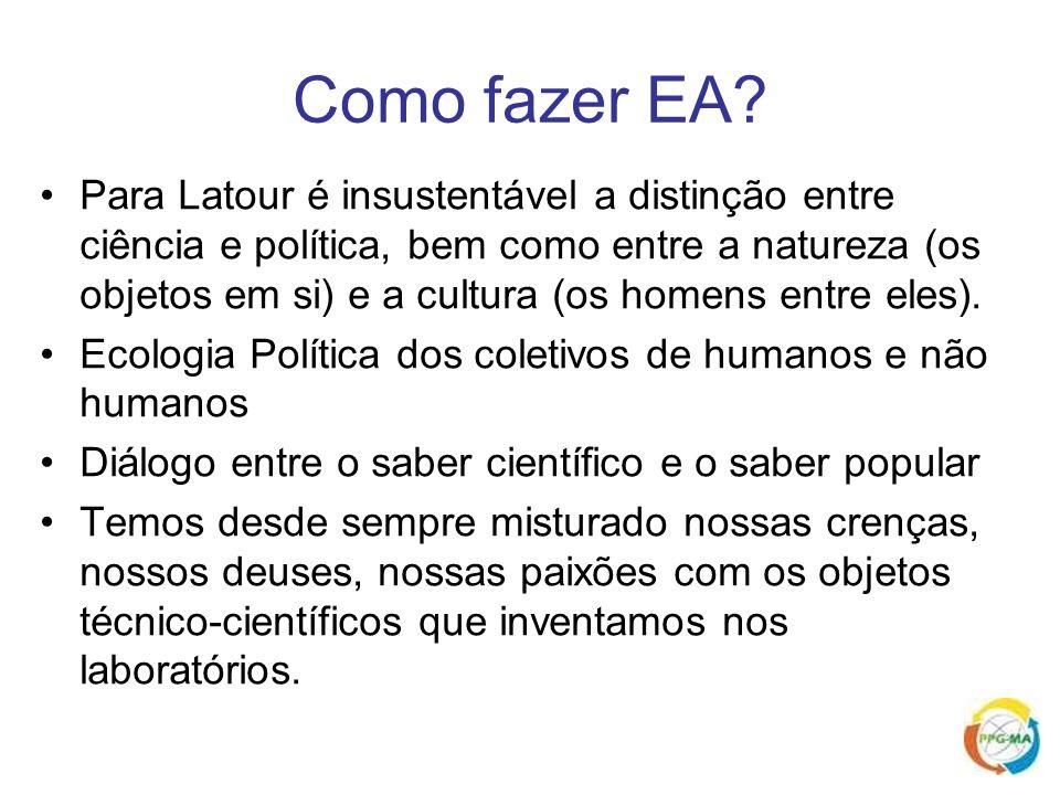 Como fazer EA? Para Latour é insustentável a distinção entre ciência e política, bem como entre a natureza (os objetos em si) e a cultura (os homens e