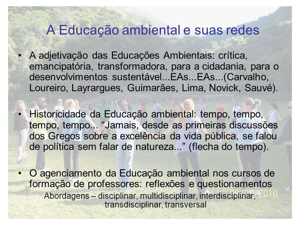 A Educação ambiental e suas redes A adjetivação das Educações Ambientais: crítica, emancipatória, transformadora, para a cidadania, para o desenvolvim