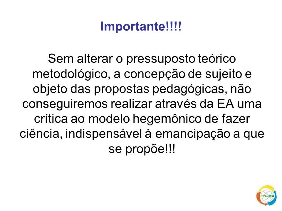 Importante!!!! Sem alterar o pressuposto teórico metodológico, a concepção de sujeito e objeto das propostas pedagógicas, não conseguiremos realizar a