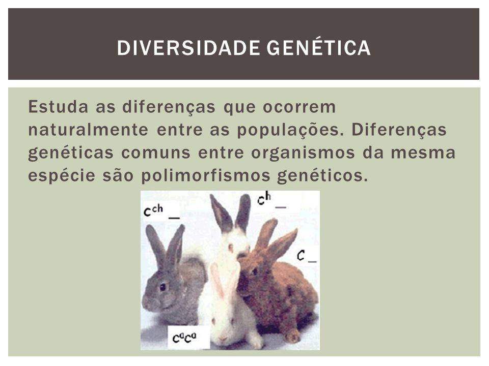 Estuda as diferenças que ocorrem naturalmente entre as populações. Diferenças genéticas comuns entre organismos da mesma espécie são polimorfismos gen