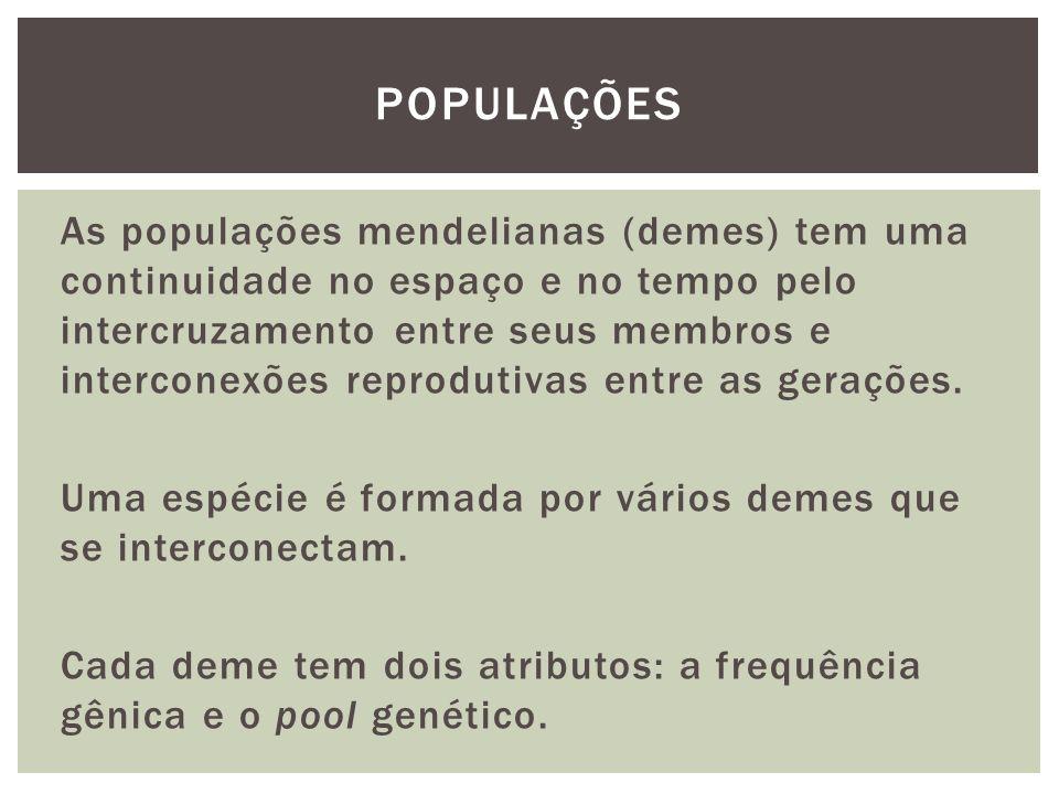 As populações mendelianas (demes) tem uma continuidade no espaço e no tempo pelo intercruzamento entre seus membros e interconexões reprodutivas entre