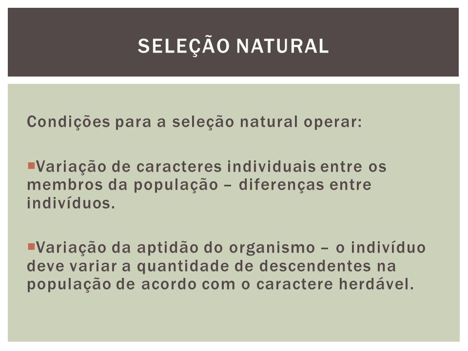 Condições para a seleção natural operar: Variação de caracteres individuais entre os membros da população – diferenças entre indivíduos. Variação da a
