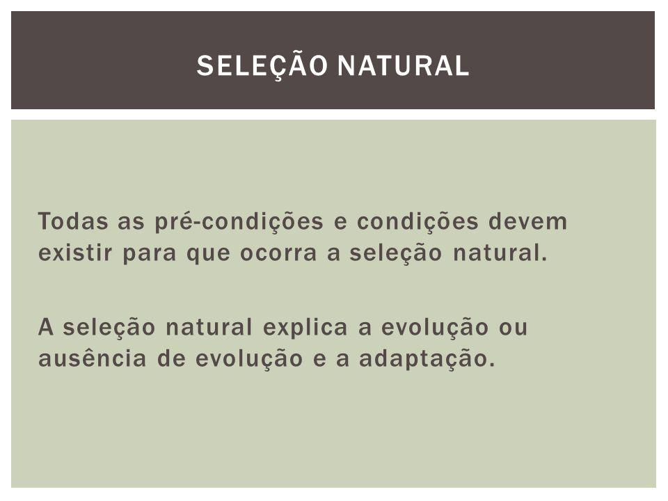 Todas as pré-condições e condições devem existir para que ocorra a seleção natural. A seleção natural explica a evolução ou ausência de evolução e a a