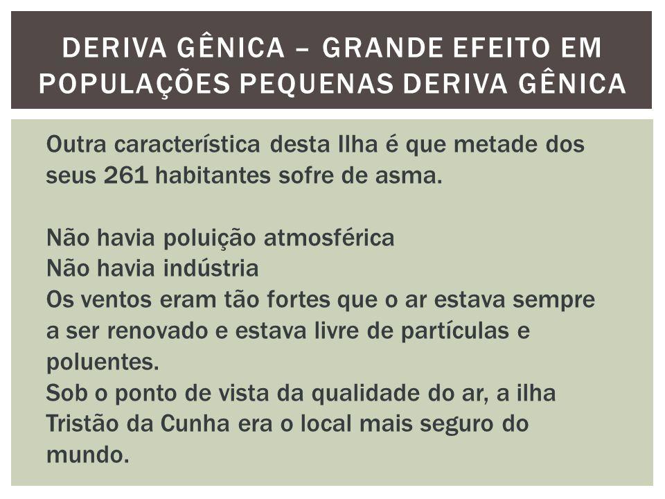 DERIVA GÊNICA – GRANDE EFEITO EM POPULAÇÕES PEQUENAS DERIVA GÊNICA Outra característica desta Ilha é que metade dos seus 261 habitantes sofre de asma.