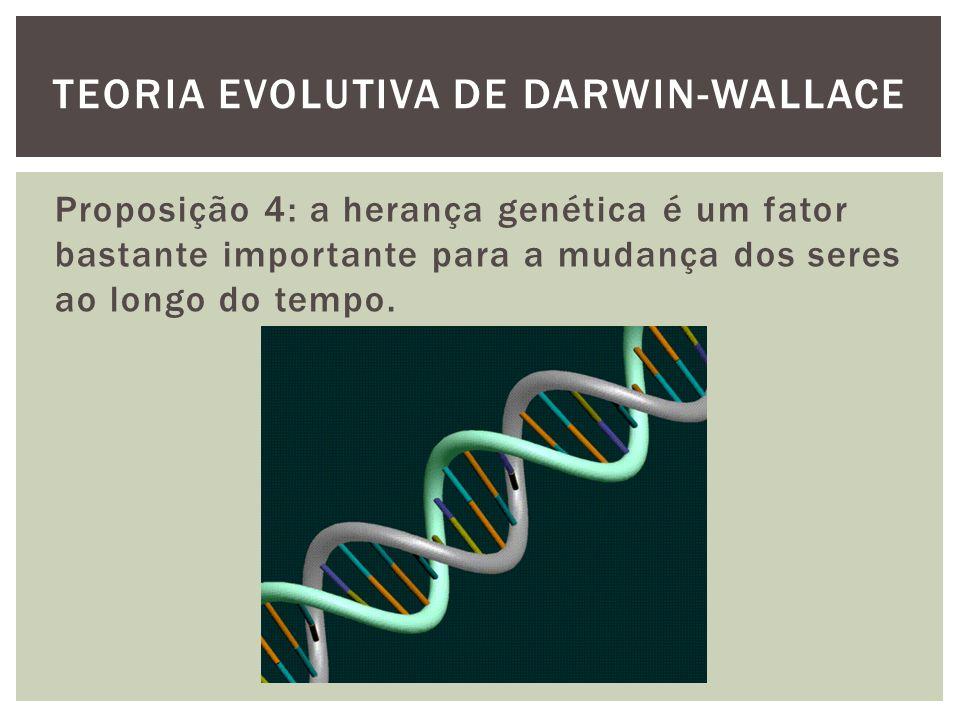 Proposição 4: a herança genética é um fator bastante importante para a mudança dos seres ao longo do tempo. TEORIA EVOLUTIVA DE DARWIN-WALLACE