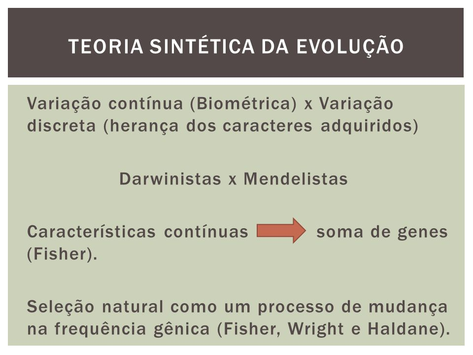 Variação contínua (Biométrica) x Variação discreta (herança dos caracteres adquiridos) Darwinistas x Mendelistas Características contínuas soma de gen