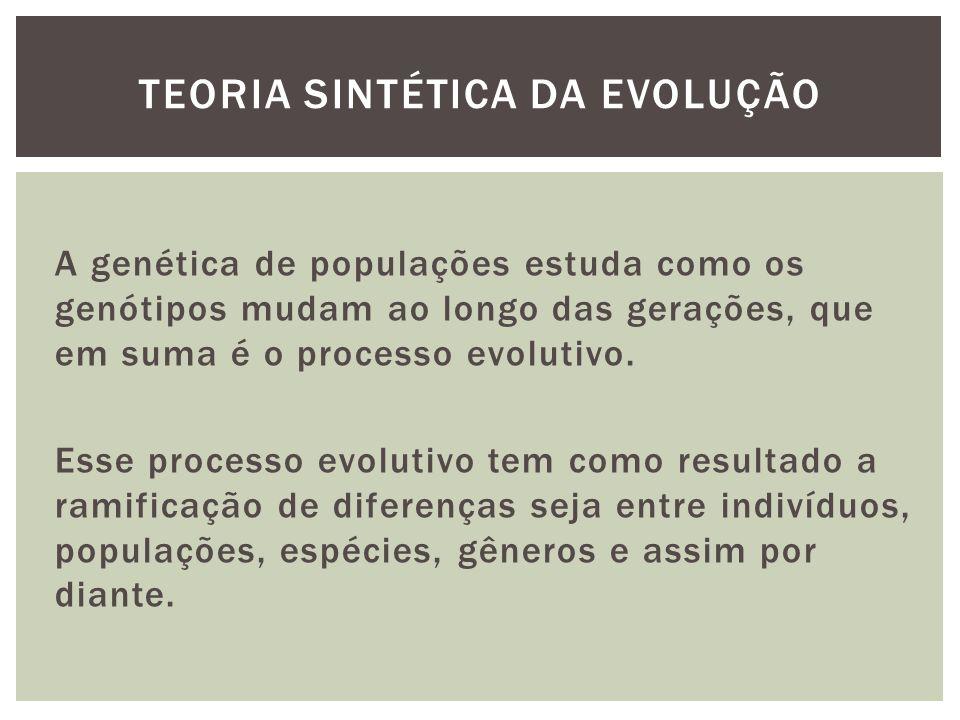 A genética de populações estuda como os genótipos mudam ao longo das gerações, que em suma é o processo evolutivo. Esse processo evolutivo tem como re