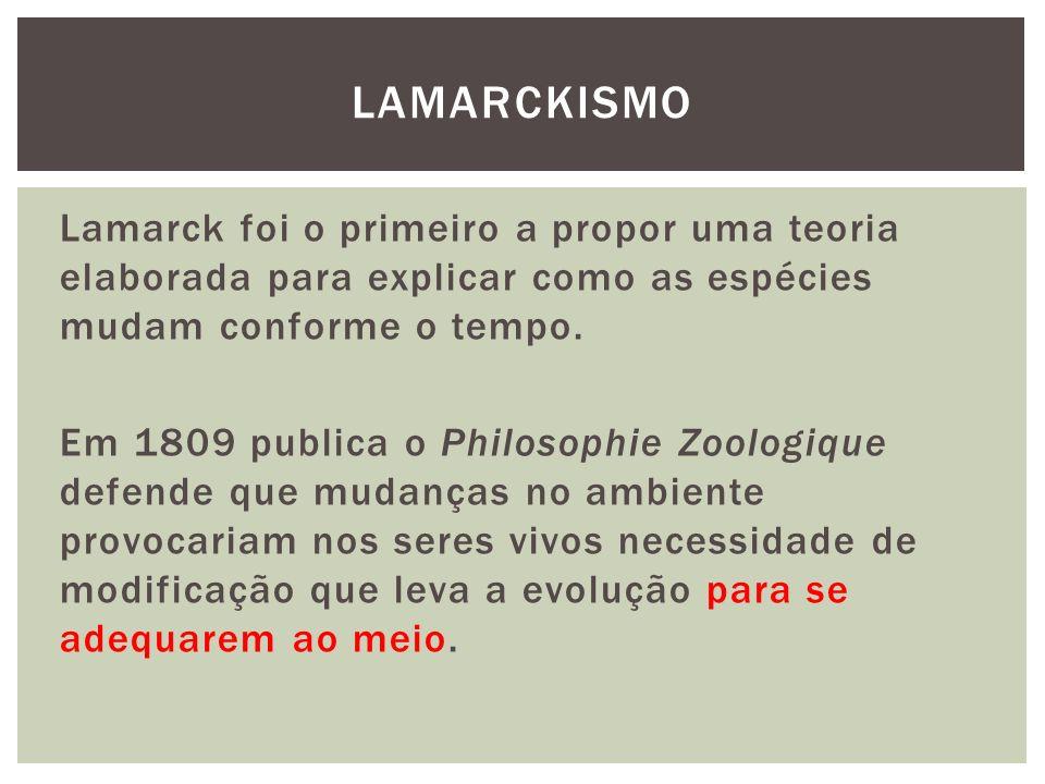 Lamarck foi o primeiro a propor uma teoria elaborada para explicar como as espécies mudam conforme o tempo. Em 1809 publica o Philosophie Zoologique d