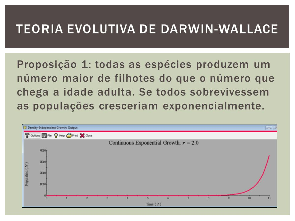 Proposição 1: todas as espécies produzem um número maior de filhotes do que o número que chega a idade adulta. Se todos sobrevivessem as populações cr