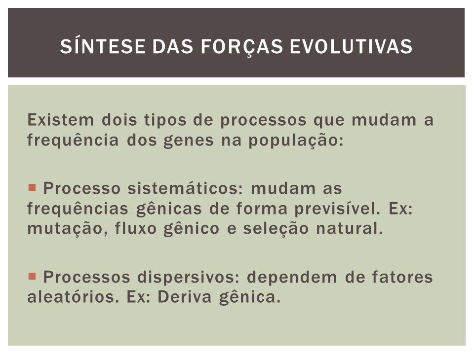 Existem dois tipos de processos que mudam a frequência dos genes na população: Processo sistemáticos: mudam as frequências gênicas de forma previsível