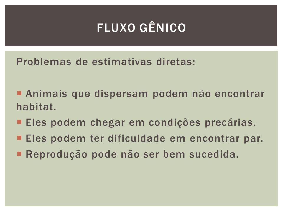 Problemas de estimativas indiretas: Medida de fluxo gênico pode estar estimando coisas diferentes além de apenas o fluxo gênico.