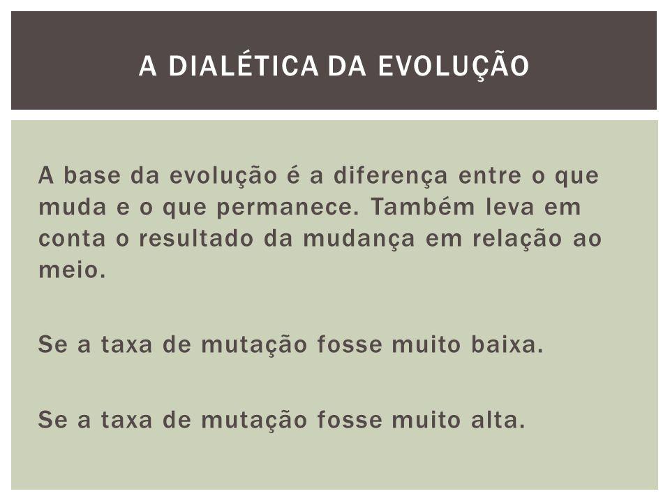 A base da evolução é a diferença entre o que muda e o que permanece. Também leva em conta o resultado da mudança em relação ao meio. Se a taxa de muta