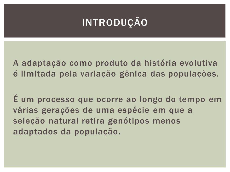 A adaptação como produto da história evolutiva é limitada pela variação gênica das populações. É um processo que ocorre ao longo do tempo em várias ge