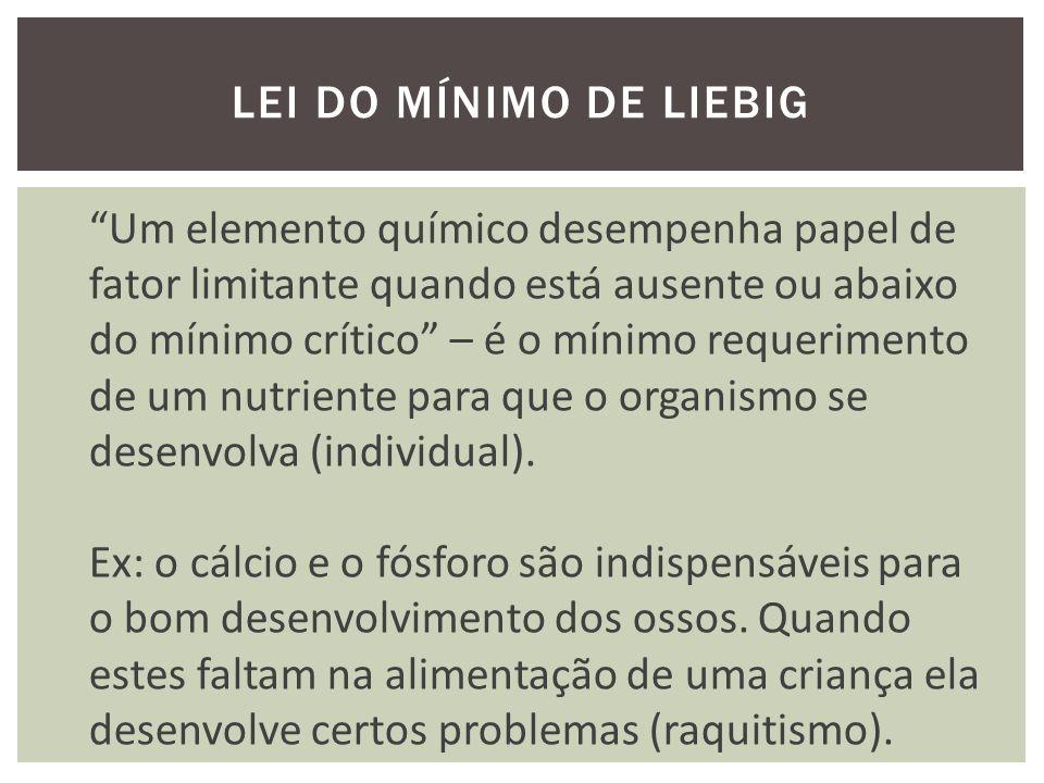 LEI DO MÍNIMO DE LIEBIG Um elemento químico desempenha papel de fator limitante quando está ausente ou abaixo do mínimo crítico – é o mínimo requerimento de um nutriente para que o organismo se desenvolva (individual).