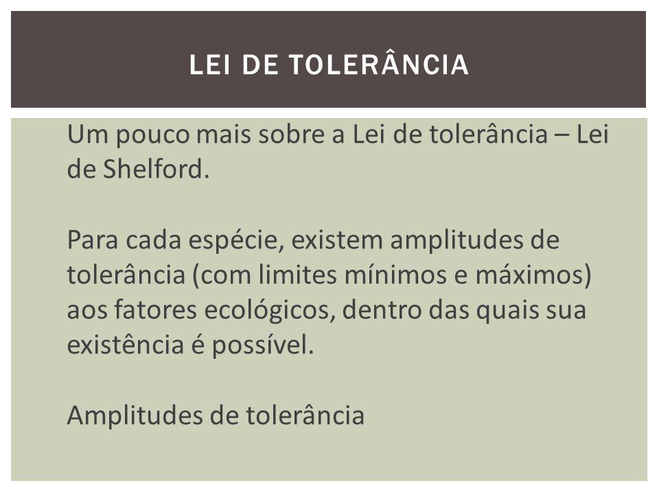 LEI DE TOLERÂNCIA Um pouco mais sobre a Lei de tolerância – Lei de Shelford.