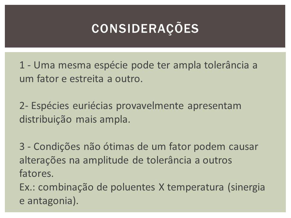 CONSIDERAÇÕES 1 - Uma mesma espécie pode ter ampla tolerância a um fator e estreita a outro.