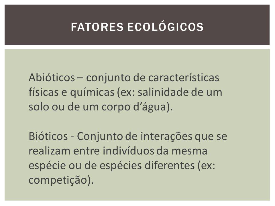 FATORES ECOLÓGICOS Abióticos – conjunto de características físicas e químicas (ex: salinidade de um solo ou de um corpo dágua).