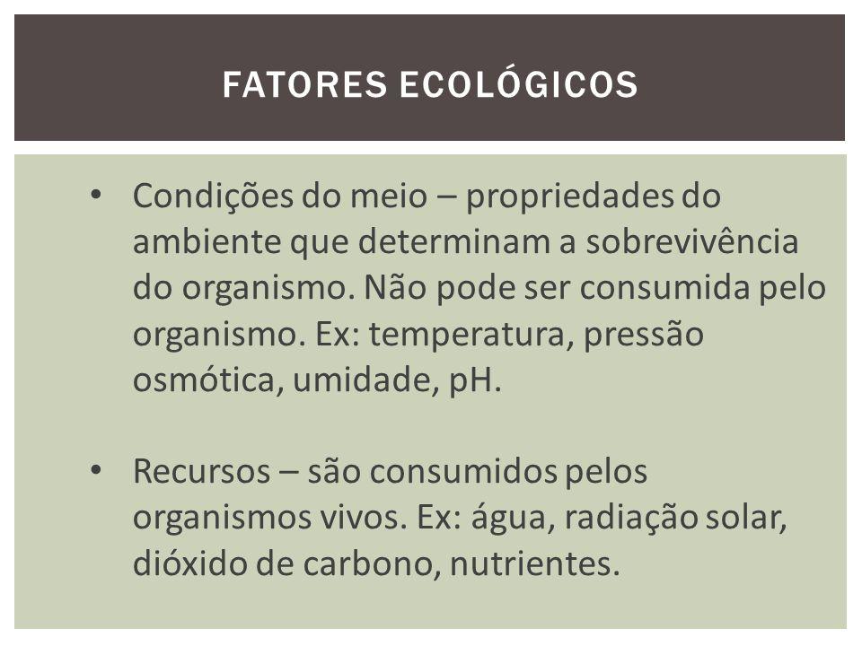 FATORES ECOLÓGICOS Fator ecológico é um fator limitante quando: a) o fator está ausente; b) reduzido abaixo de um mínimo crítico; c) exceda o nível máximo tolerável; d) eliminam as espécies - ambientes não favoráveis; e) modificam as taxas de natalidade e de mortalidade; f) determina o sucesso das espécies (extinção).