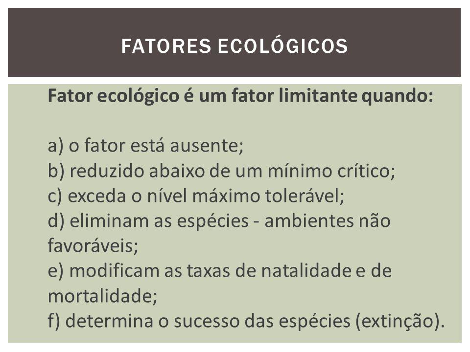 Amplitudes de tolerância – Valência ecológica É a capacidade de uma espécie em povoar os ambientes.