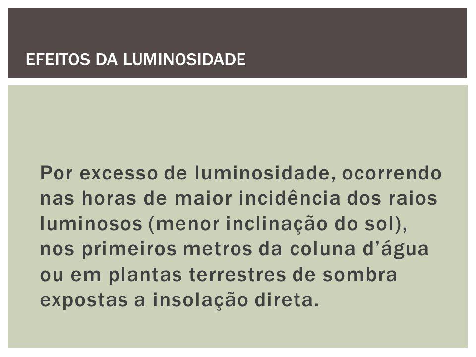 Por excesso de luminosidade, ocorrendo nas horas de maior incidência dos raios luminosos (menor inclinação do sol), nos primeiros metros da coluna dág