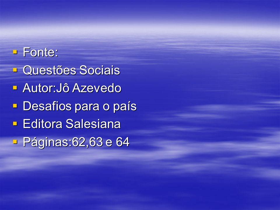 Fonte: Fonte: Questões Sociais Questões Sociais Autor:Jô Azevedo Autor:Jô Azevedo Desafios para o país Desafios para o país Editora Salesiana Editora