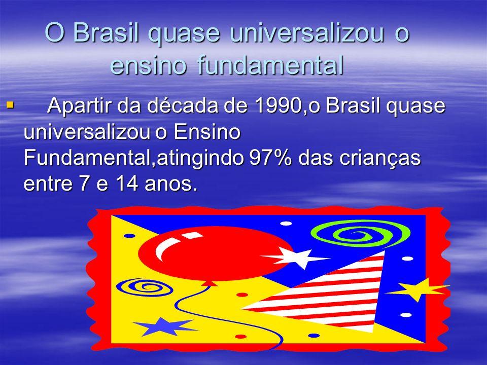O Brasil quase universalizou o ensino fundamental Apartir da década de 1990,o Brasil quase universalizou o Ensino Fundamental,atingindo 97% das crianç
