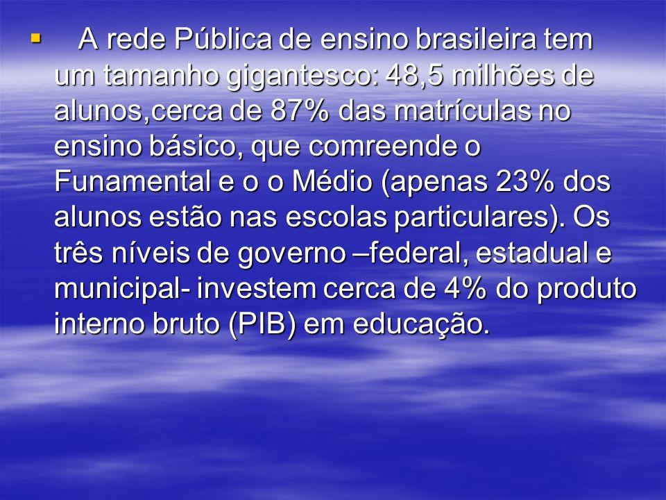A rede Pública de ensino brasileira tem um tamanho gigantesco: 48,5 milhões de alunos,cerca de 87% das matrículas no ensino básico, que comreende o Fu