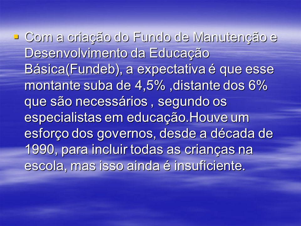 Com a criação do Fundo de Manutenção e Desenvolvimento da Educação Básica(Fundeb), a expectativa é que esse montante suba de 4,5%,distante dos 6% que