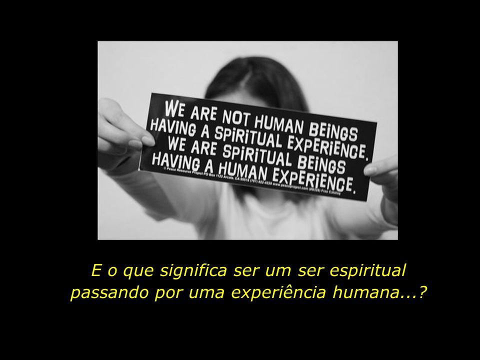 Nós não somos seres humanos passando por uma experiência espiritual. Somos seres espirituais passando por uma experiência humana.