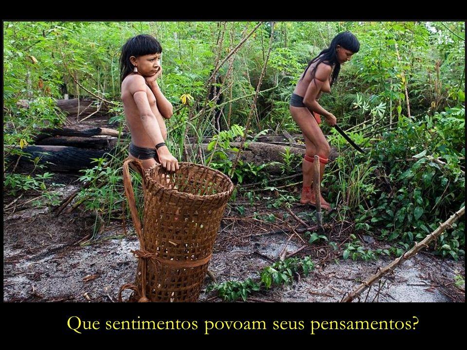 Mãe e filha colhem mandioca, nas cercanias da aldeia onde moram, ao norte de Mato Grosso.