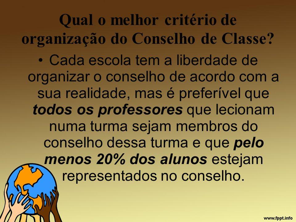 Qual o melhor critério de organização do Conselho de Classe? Cada escola tem a liberdade de organizar o conselho de acordo com a sua realidade, mas é